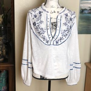 Free People Long Sleeve Embroidered Top .